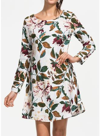 Imprimée/Fleurie Manches Longues Droite Longueur Genou Décontractée Robes