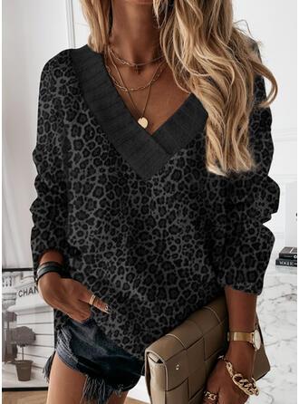 Leopardo Decote em V Casual Suéteres