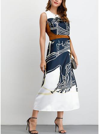 Print Mouwloos A-lijn Casual/Elegant Medium Jurken