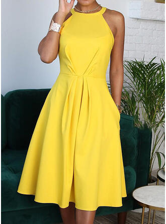 Solid Sleeveless A-line Casual/Elegant Midi Dresses