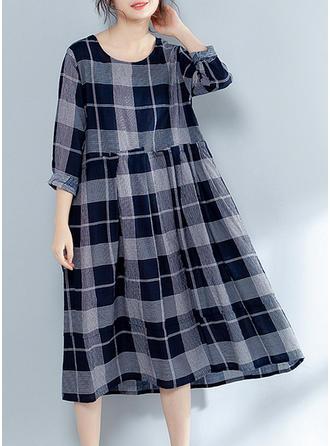 Plaid Long Sleeves Shift Midi Casual Dresses