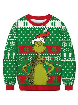 Unisex Misturas de Algodão Impressão Camisola de Natal