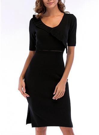 Solid Slit V-neck Knee Length Sheath Dress