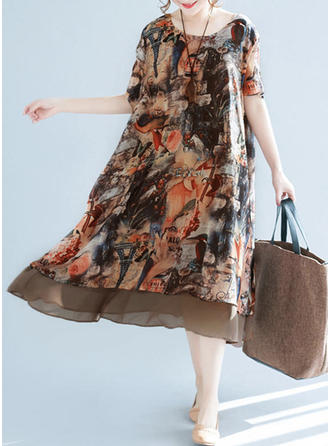 Print Round Neck Knee Length Shift Dress
