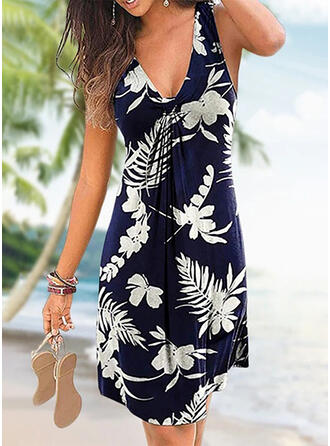 Print/Floral Sleeveless A-line Above Knee Casual/Vacation Dresses