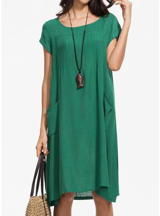 Solidny Krótkie rękawy Koktajlowa Midi Nieformalny Sukienki