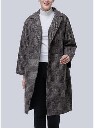 Polyester Long Sleeves Plaid Blend Coats