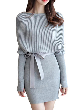 Knitting With Stitching Above Knee Dress