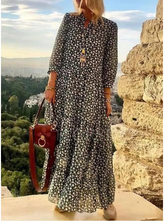 Print Long Sleeves Shift Maxi Casual/Boho/Vacation Dresses
