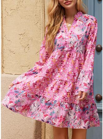Nadruk/Kwiatowy Długie rękawy Suknie shift Nad kolana Nieformalny Tunika Sukienki
