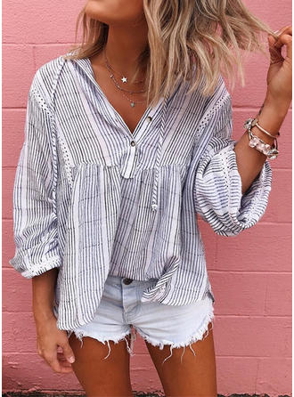 Striped V neck Long Sleeves Button Up Casual Blouses