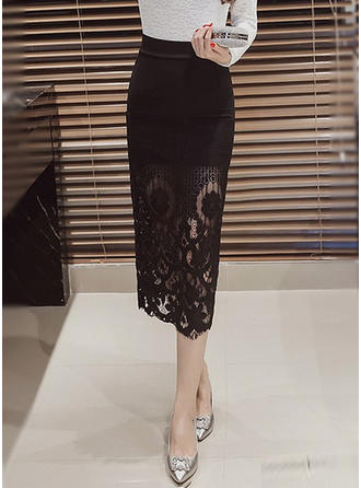 Polyester Lace Lace Mid-Calf Pencil Skirts