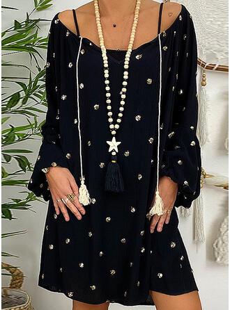 Print Long Sleeves Shift Knee Length Casual/Elegant Dresses