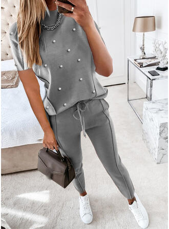 Egyszínű Ανέμελος Plus μέγεθος μπλούζα & Ρούχα Δύο Κομματιών Set ()