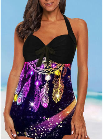 Print Halter Vintage Plus Size Colorful Swimdresses Swimsuits