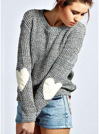 Knit Round Neck Plain Sweater