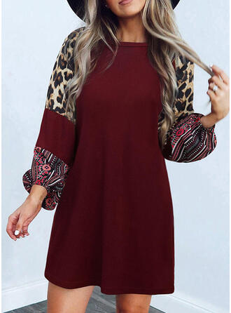 Print/Leopard Long Sleeves Shift Above Knee Casual Tunic Dresses