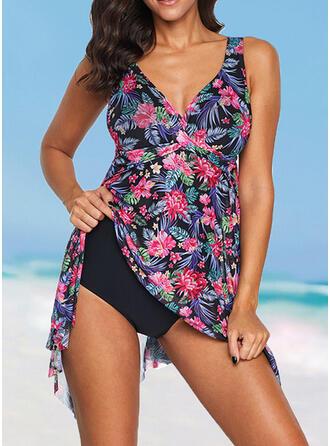 Floral Print Strap V-Neck Vintage Boho Swimdresses Swimsuits