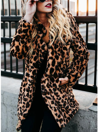 Faux Fur Long Sleeves Animal Print Shearling Coats