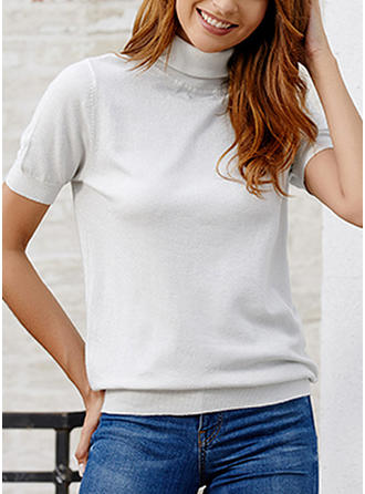 Solid High Neck Short Sleeves Casual Knit Blouses