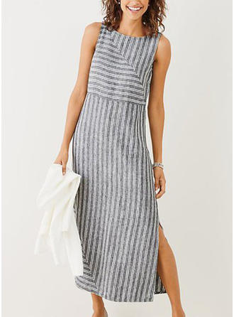 Striped Sleeveless Shift Maxi Casual Dresses