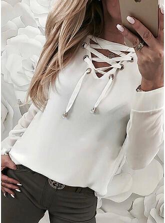 Jednolity Dekolt w kształcie litery V Długie rękawy Casual T-shirty