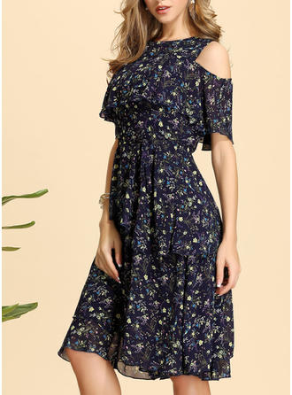 Print/Floral 1/2 Sleeves/Cold Shoulder Sleeve A-line Knee Length Casual/Elegant Dresses