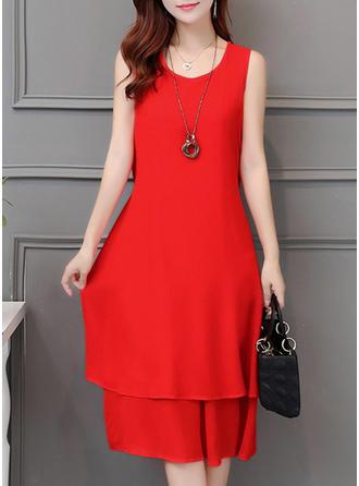 Chiffon With Stitching Knee Length Dress