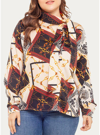 Print Stand-up Collar Long Sleeves Button Up Casual Elegant Blouses