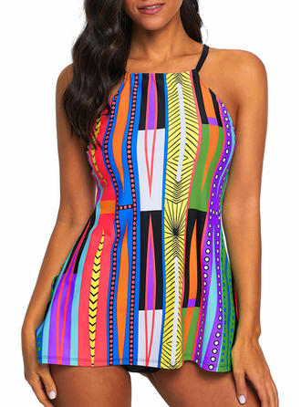 Stripe Strap Beautiful Bohemian One-piece Swimsuits