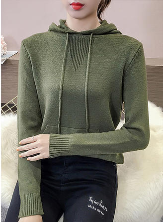 Cotton Hooded Plain Sweater