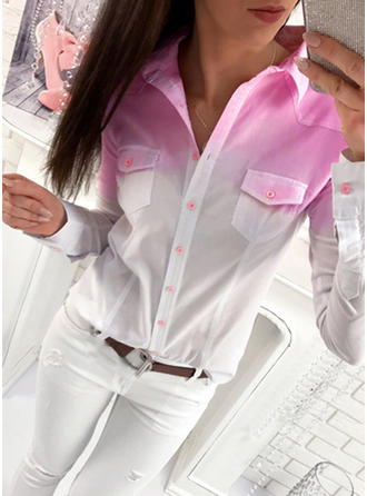 Polyester Lapel Print Long Sleeves Button Up Blouses