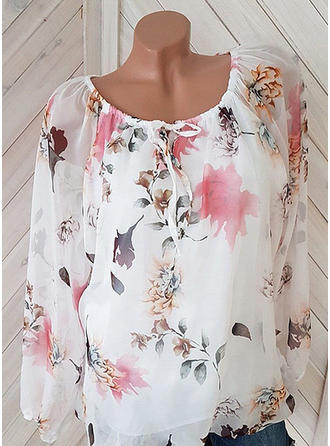 Chiffon Round Neck Print Long Sleeves Casual Blouses