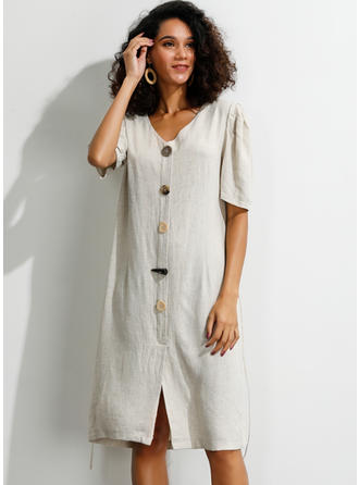 Solid 1/2 Sleeves/Puff Sleeves Shift Knee Length Casual Dresses