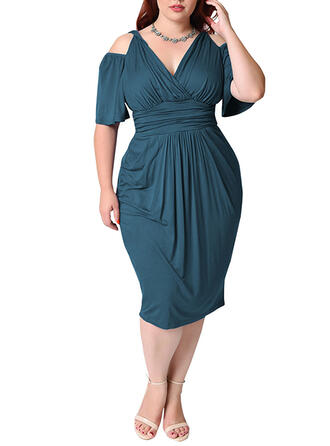Solid 1/2 Sleeves/Cold Shoulder Sleeve Bodycon Plus Size Midi Dresses