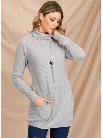 Jednolity Kieszenie Golf Sukienka sweterkowa