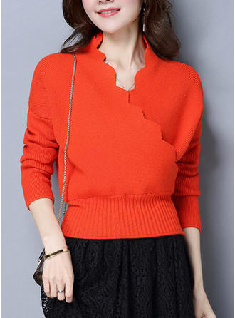 Polyester V-neck Plain Sweater