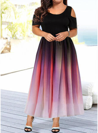 Print Short Sleeves/Cold Shoulder Sleeve A-line Skater Casual/Elegant Maxi Dresses