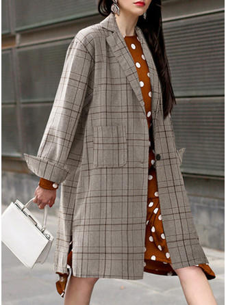 Cotton Long Sleeves Grid Trench Coats