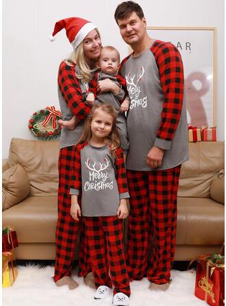 Rensdyr Letter Print Familie Matchende Jul Pyjamas
