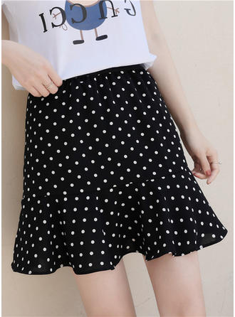 Cotton Blends Polka Dot Above Knee A-Line Skirts