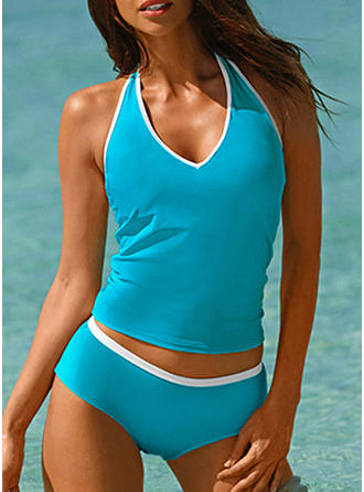 Solid Color V-neck Elegant Tankinis Swimsuits