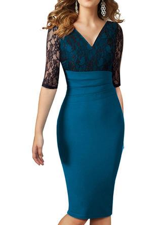 Lace V-neck Knee Length Bodycon Dress