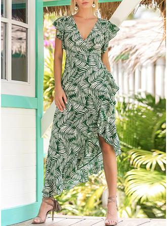 Polyester With Print Asymmetrical Dress