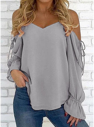 Solide Cold Shoulder Lange Mouwen Casual Blouses