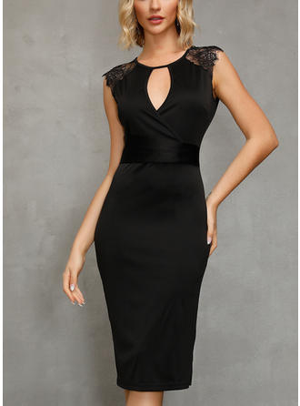 Lace/Solid Bodycon Asymmetrical Little Black/Elegant Dresses