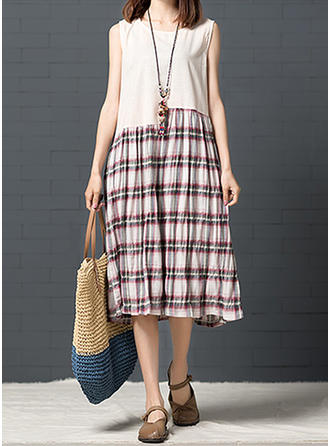 Plaid Round Neck Knee Length Shift Dress