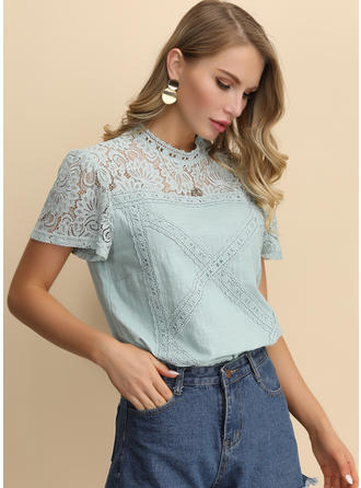 Lace Stand-up Collar Short Sleeves Blouses