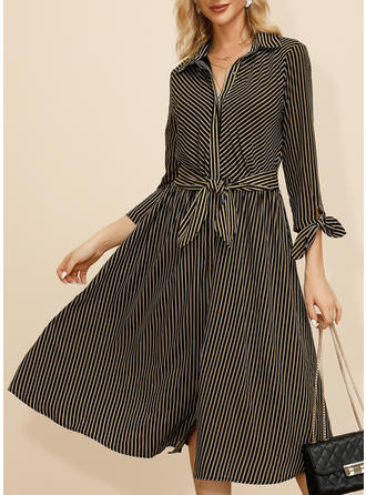 Striped Long Sleeves A-line Midi Casual Dresses