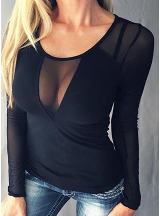 Jednobarevný Kulatý Výstřih Dlouhé rukávy Neformální Sexy Bluze